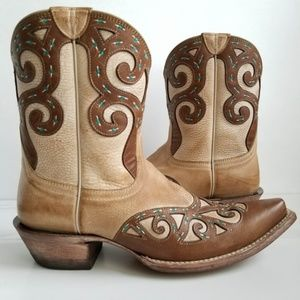 Ariat Rio Tan/Brown/Turquoise Leather Cowboy Boots